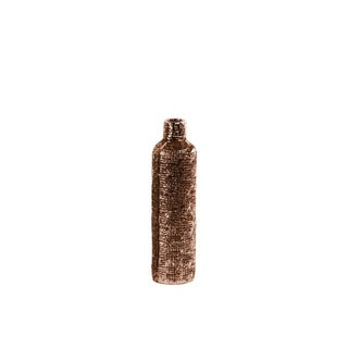 Bottle Vase with Engraved Criss Cross Design Small - Copper - Benzara