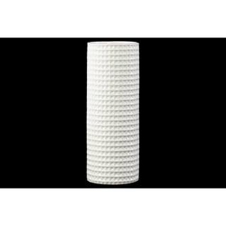 Tall Elegant Round Vase, Dimpled Motif- White- Benzara