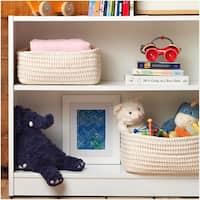 Cotton Ticking Nesting Shelf Baskets (Set-3)