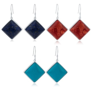 Sterling Silver Square Choice of Gemstone Stud Earrings