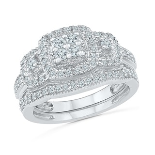 10 KT Gold Round Diamond Bridal Ring - White I-J