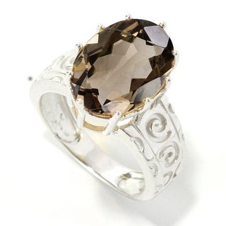 Sterling Silver 5.42ct Oval Smoky Quartz Solitaire Swirl Engrave work Ring - Brown