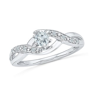 Sterling Silver Round Diamond Bridal Ring - White I-J