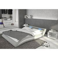 Ladeso SL-Fort Lee Modern King Light Grey LED Bed - Light grey