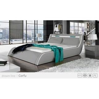 Ladeso Go-CORFU Modern Queen Light Grey LED Bed