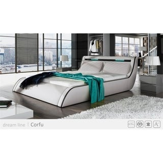 Ladeso Go-CORFU Modern Queen White LED Bed