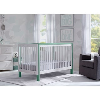 Serta Fremont 3-in-1 Convertible Crib, Bianca White with Aqua