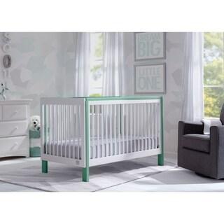Serta Fremont 3-in-1 Convertible Crib, Bianca White with Aqua