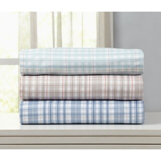 Great Bay Home Double Brushed Microfiber Plaid Sheet Set
