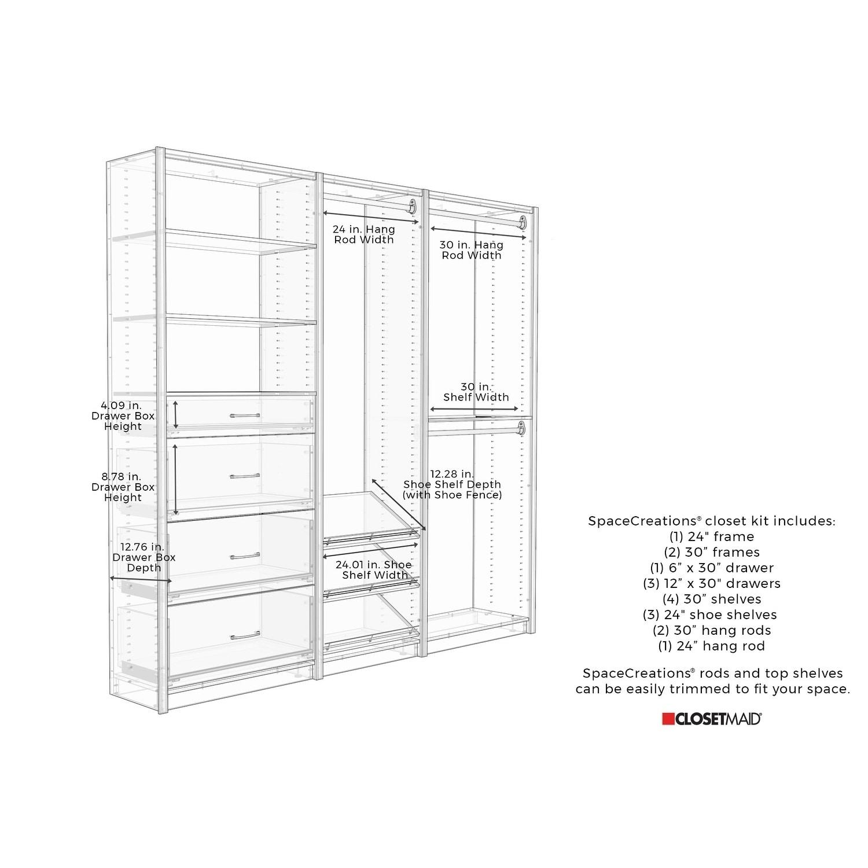 Closetmaid Spacecreations 90 Closet Organizer Kit