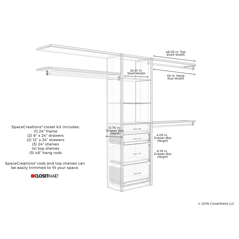 Closetmaid Spacecreations 50 121 Closet Organizer Kit