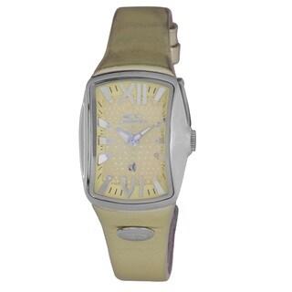 Chronotech Goldtone Leather Strap Women's Quartz Watch