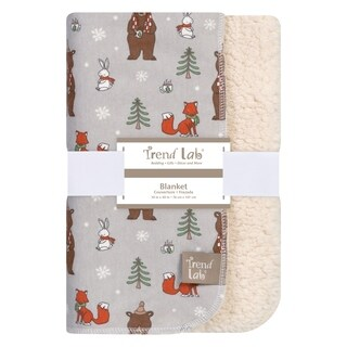 Trend Lab Cup of Cocoa Flannel and Faux Shearling Blanket