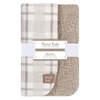 Trend Lab Gray and White Plaid Flannel and Faux Shearling Blanket|https://ak1.ostkcdn.com/images/products/17177230/P23438694.jpg?impolicy=medium