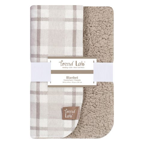 Trend Lab Gray and White Plaid Flannel and Faux Shearling Blanket