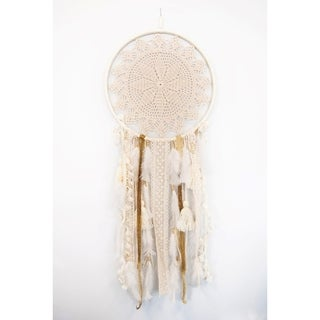 Handmade Boho Feather Off White Large Wall Hanging Dreamcatcher