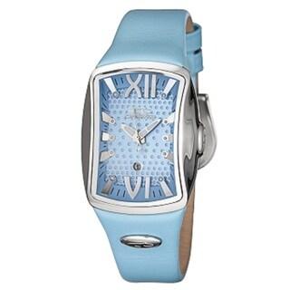 Chronotech Blue Leather Strap Women's Quartz Watch