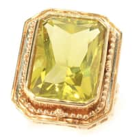 Michael Valitutti Palladium Silver Etruscan Collection Radiant Cut Ouro Verde Ring - Yellow