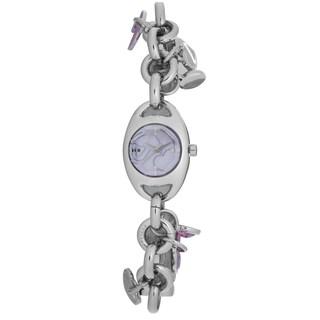 Chronotech Women's Silvertone Stainless Steel Charm Bracelet Quartz Watch