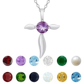 Dolce Giavonna Sterling Silver Gemstone Birthstone Cross Necklace