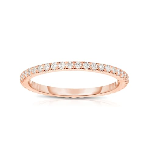 Noray Designs 14K Rose Gold Diamond (0.40 Ct, G-H Color, SI2-I1 Clarity) Eternity Wedding Band - White G-H - White G-H