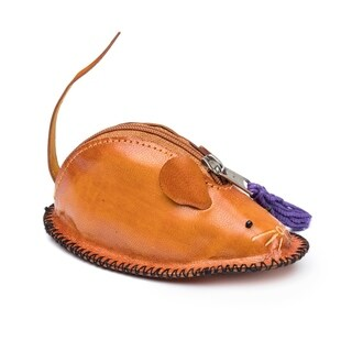 Handcrafted Leather Mouse Coin Pouch (India)
