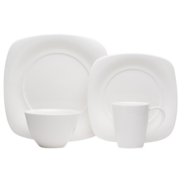 341adb5b941f Shop Red Vanilla Hospitality White Porcelain Square 24-piece Dinner Set ( Service for 6) - Free Shipping Today - Overstock - 17177830