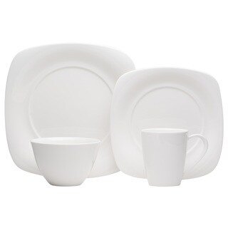 Red Vanilla Hospitality White Porcelain Square 24-piece Dinner Set (Service for 6)