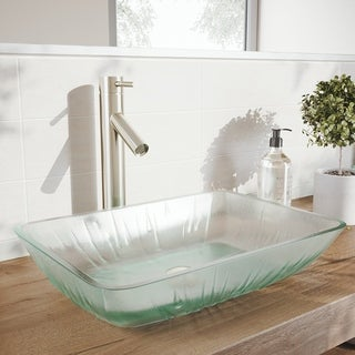 VIGO Rectangular Icicles Glass Vessel Bathroom Sink Set with Dior Vessel Faucet in Brushed Nickel