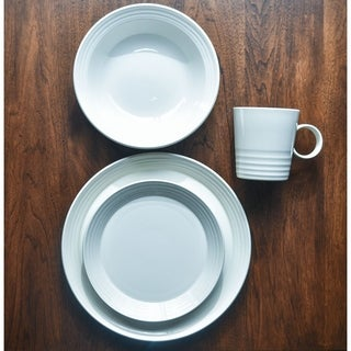 Terrastone White Stoneware Round 16-piece Dinner Set