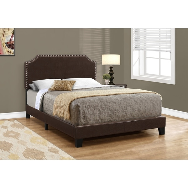 Shop Bed Full Size Dark Brown Leather Look With Brass