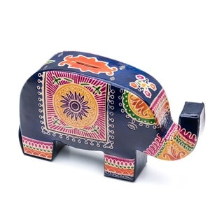Handcrafted Leather Elephant Coin Bank (India)