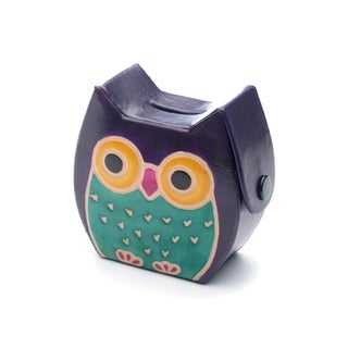 Handcrafted Leather Owl Coin Bank (India)