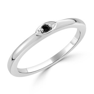 Auriya 10K Gold Stackable 1/40ct. Black Diamond Solitaire Ring