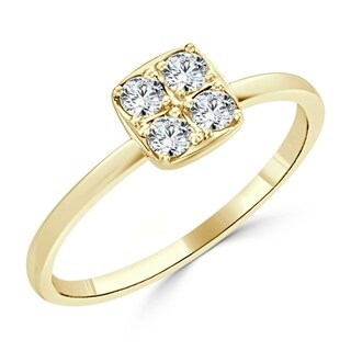 Auriya 10K Gold Stackable Geometric 1/4ct TDW Diamond Ring