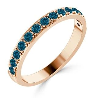 Auriya 10K Gold  Stackable 3/8ct TDW Blue Diamond Ring