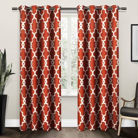 """ATI Home Ironwork Grommet Top Window Curtain Panel Pair 96"""" in Taupe (As Is Item)"""