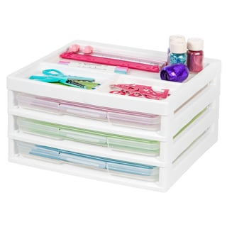 IRIS 3-Case Scrapbook Table Chest, White