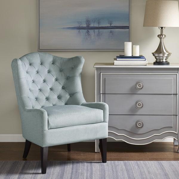 Pleasant Shop Madison Park Loretta Light Blue Tufted Accent Chair Machost Co Dining Chair Design Ideas Machostcouk