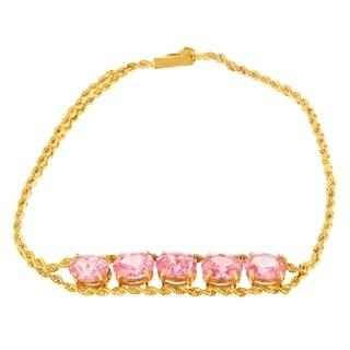 10k Yellow Gold 3.75ct TGW Fashion Bracelet with Oval Pink Sapphire Gemstones