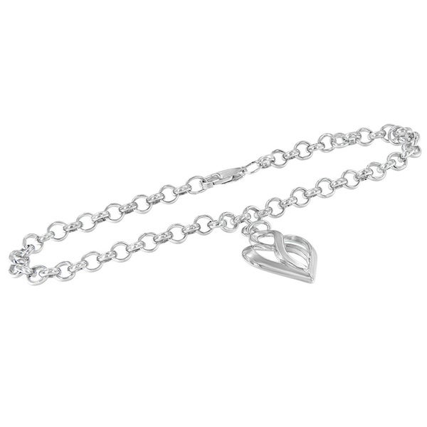 Sterling Silver Heart and Infinity Charm Bracelet. Opens flyout.