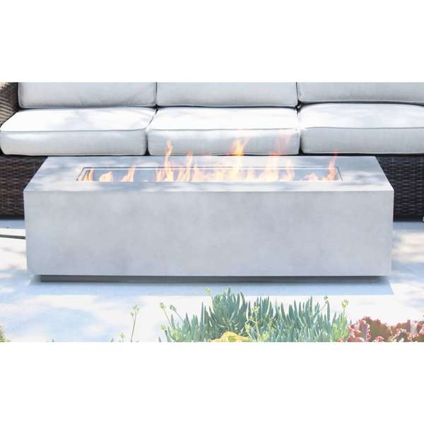 Living Source International Santiago Grey Cast Concrete 56 Inch Fire Pit Table