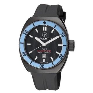 Avio Milano Men's Quartz Divers Stainless Steel with Black Rubber Strap Watch