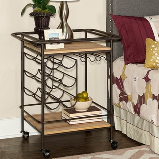 Metal and Wood Wine Bar Cart
