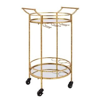 Gold Round Metal Bar Cart