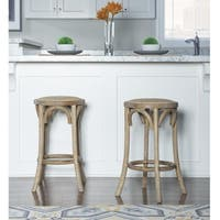 Flint Rattan Seat Backless Counter Stool - N/A