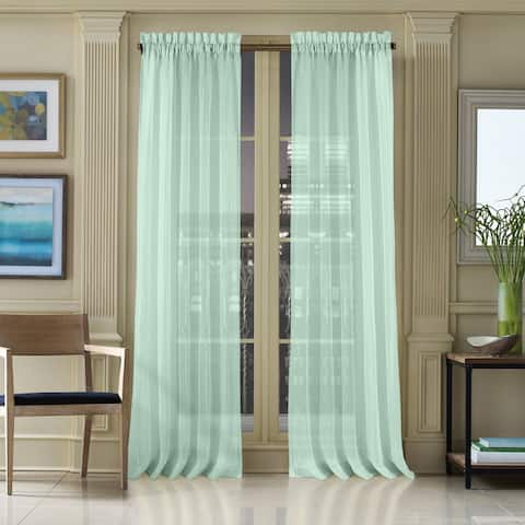 Five Queens Court Warren Pleated Window Sheer Curtain with Rod Pocket