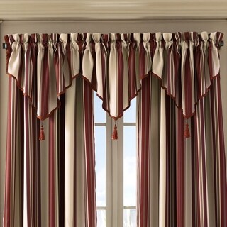 Five Queens Court Jackson Striped Herringbone Ascot Window Valance