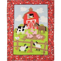 Manual Woodworkers Farmtasia Boy Multi Color Coral Fleece Throw