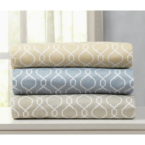 Jasmine Collection Double Brushed Microfiber Sheet Set with Geometric Pattern